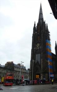 "Scottland, The ""Hub"" formerly Tolbooth St John's Church on Royal Mile in Edinburgh.  The ""Hub"""" home of the Edinburgh Intl. Festival. Edinburgh architect J Gillespie Graham revivalist Augustus Pugin, constructed 1842-45."
